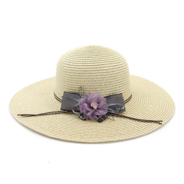 Lovely straw hat bowknot and flower decoration